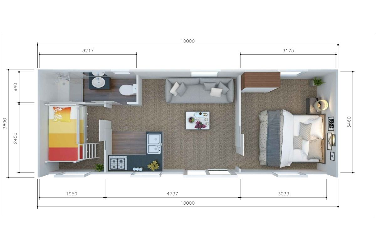 2 Brm Tiny House 10m X 3 6m Unit2go Transportable Cabins Nz Wide House Floor Plans House Flooring Floor Plan With Dimensions