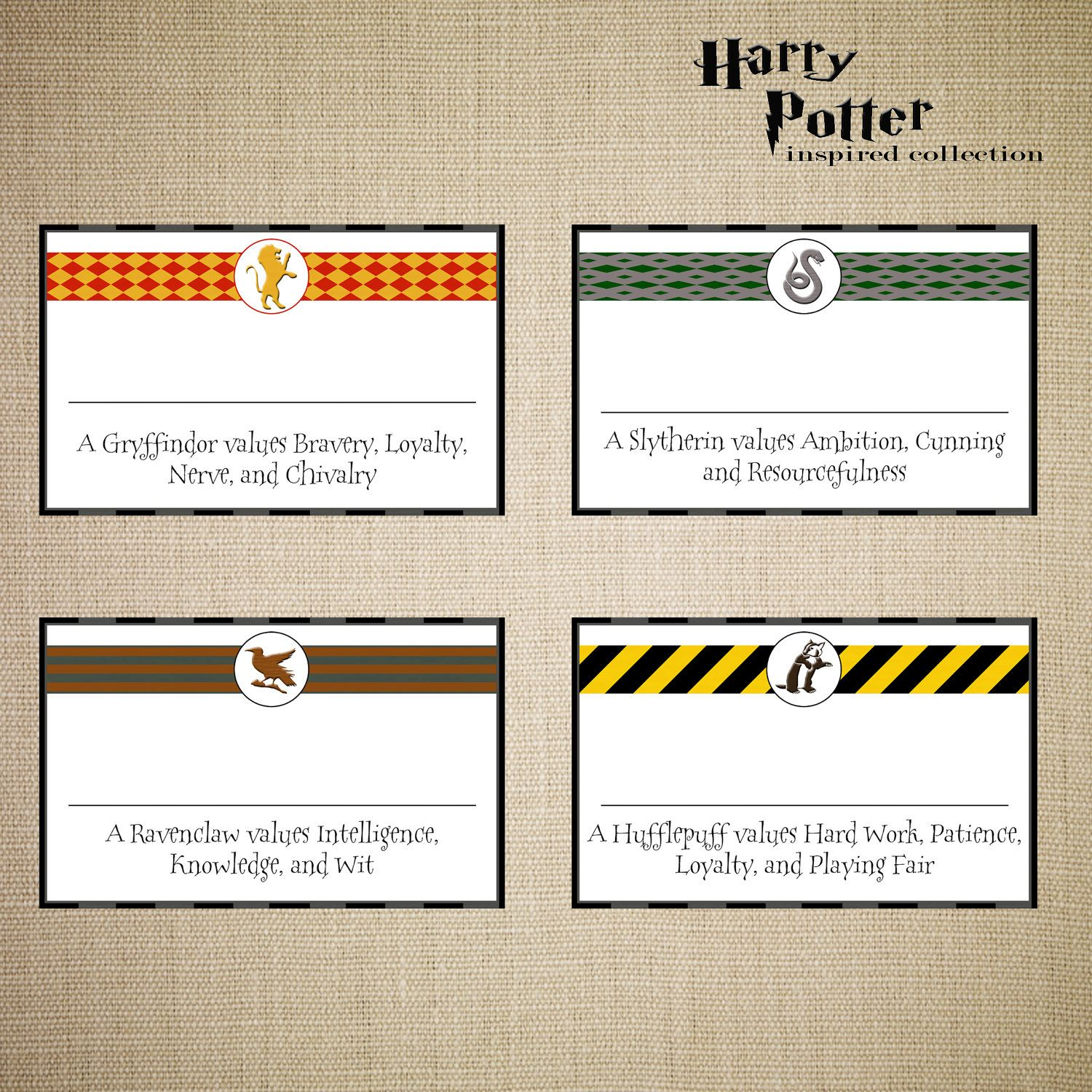 Harry Potter House Name Badges