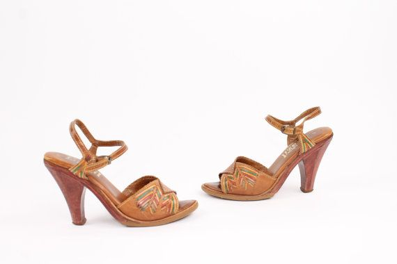 Vintage 1970's Pumps Wood Heels Woven Leather Ankle Strap by ScarletFury, $65.00, https://www.etsy.com/listing/159615851/70s-pumps-wood-heels-woven-leather-ankle?ref=shop_home_active_1 women's spring summer footwear shoes