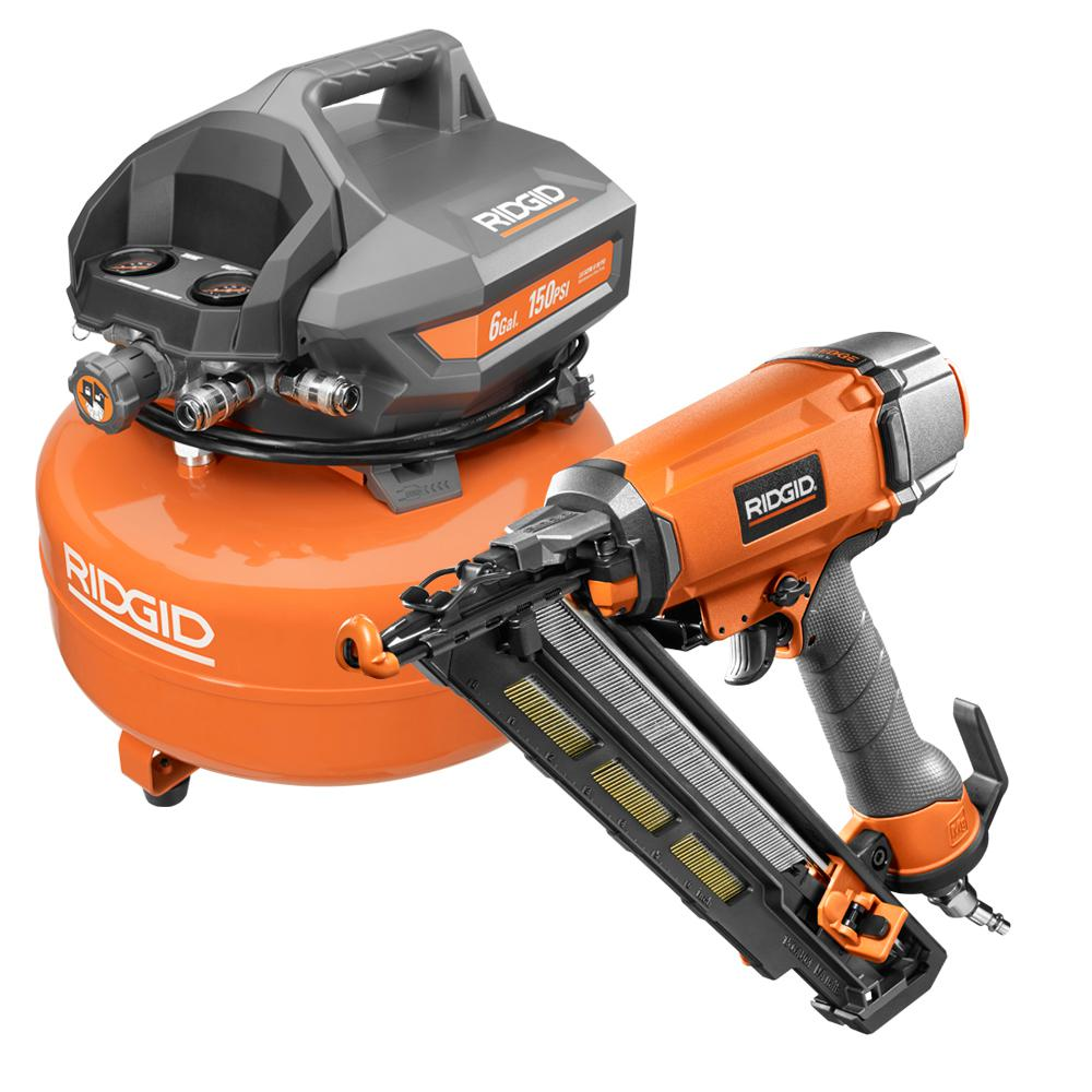 Ridgid 6 Gal Portable Electric Pancake Air Compressor With 15 Gauge 2 1 2 In Angled Finish Nailer And 200 Finish Nails Of60150ha R250a Products In 2019