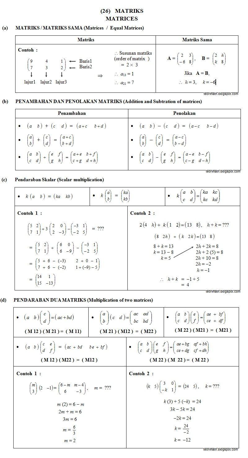 Soalan Matematik Matriks Tingkatan 5 Klewer A