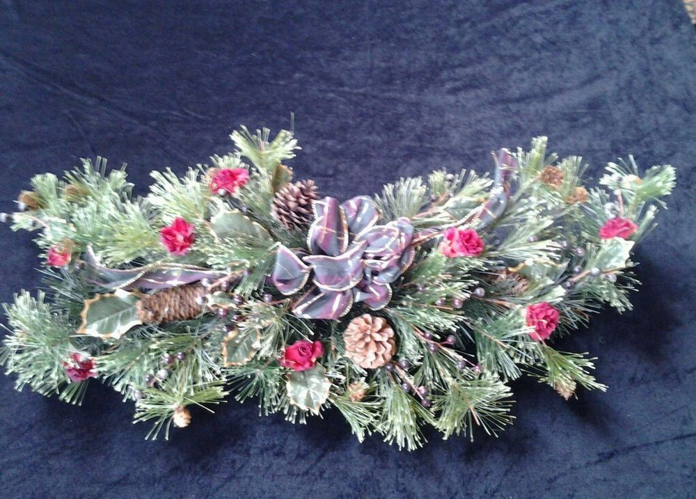 Christmas Swag Artficial Pine with Real Pinecones Mantel Door Holiday Rose