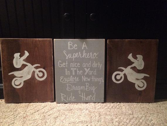 Boys Nursery Decor, Boy Bedroom Decor, Dirt Bike Decor