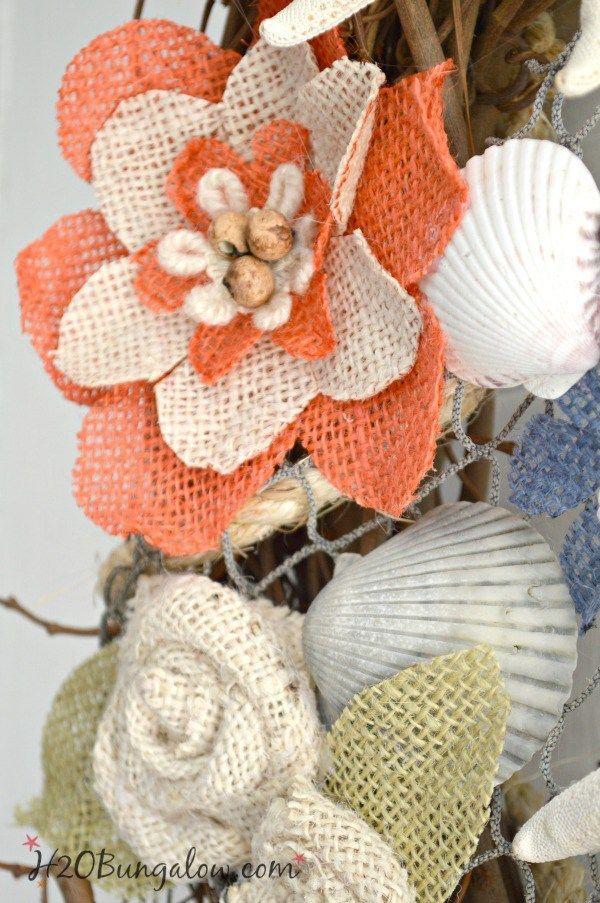 DIY Coastal Burlap Flower Wreath Tutorial | Burlap flower wreaths ...