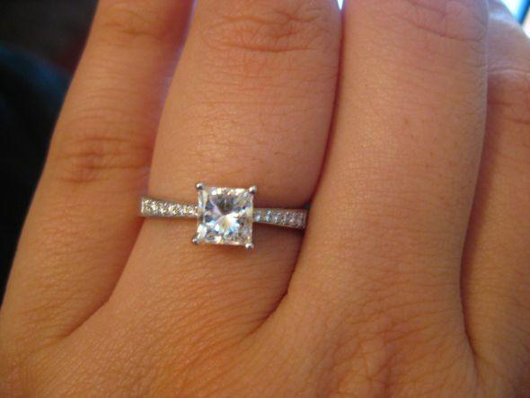 Beautiful 1 Carat Engagement Ring ^_^ 8 - 1 Carat Princess Cut Diamond Ring  On Finger