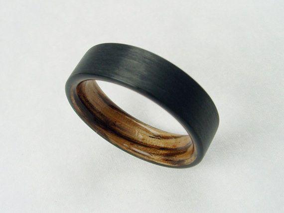 Carbon Fiber ring with Zebra wood.