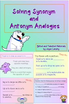 Synonyms And Antonyms Analogies For Promethean Board Promethean