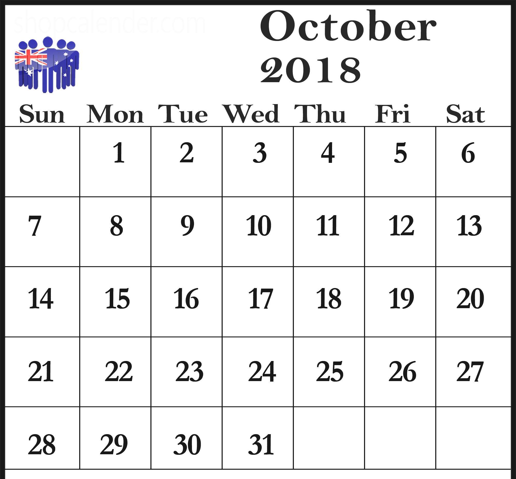 October 2018 Monthly Calendar Editable Template October 2018