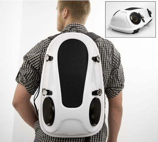 A backpack with built in speakers. Cool!  285906ad432a4