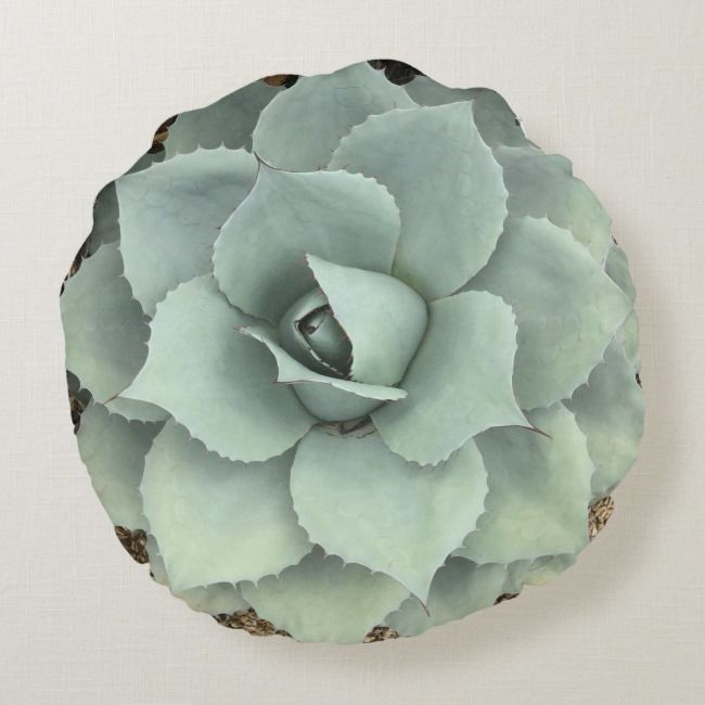 Cool Grey Agave Succulent Round Pillow