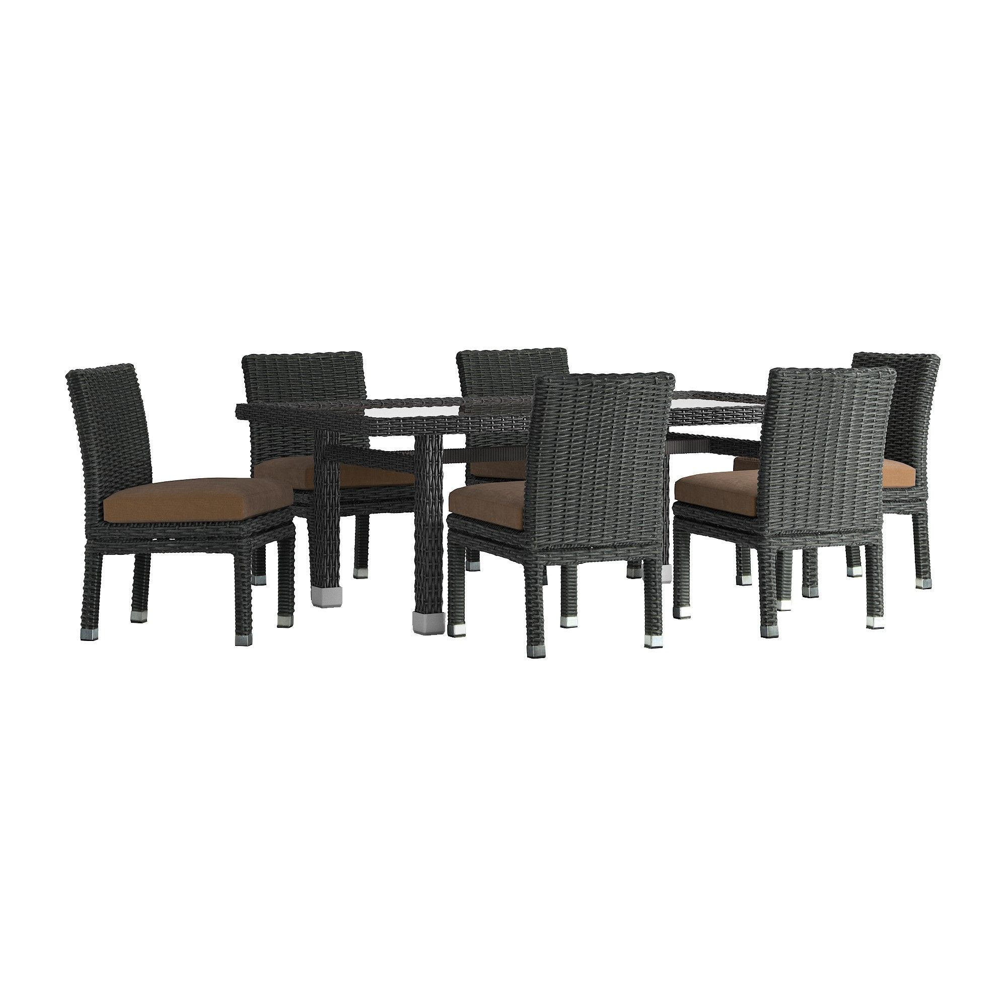 Riviera pointe pc glass top wicker patio rectangle dining set with