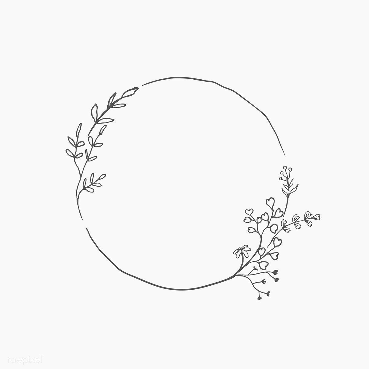 Download Premium Vector Of Round Floral Frame Element Vector 935769 Floral Drawing Bullet Journal Art Wreath Drawing
