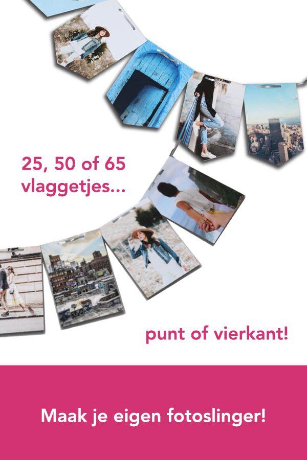 Maak je eigen fotoslinger!   Je eigen persoonlijke fotoslinger maak je bij Het Fotoalbum gewoon online. Je hebt keuze uit een slinger met 25, 50 of 65 vlaggetjes in punt of vierkant. Upload je foto's en begin direct!