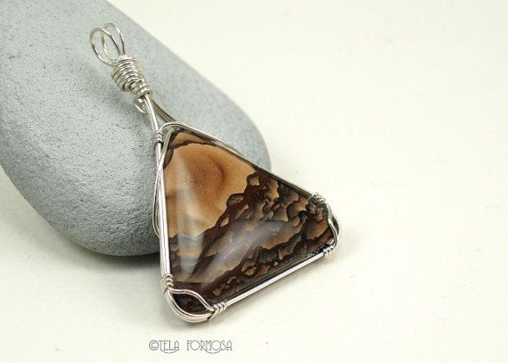 wire wrapping from the USA Pendant Deschutes Picture Jasper Cabochon jewelry making