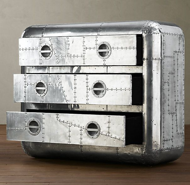 Blackhawk Dresser from Restoration Hardware   patchwork of polished  aluminum panels accented with exposed steel screws. Blackhawk Dresser from Restoration Hardware   patchwork of