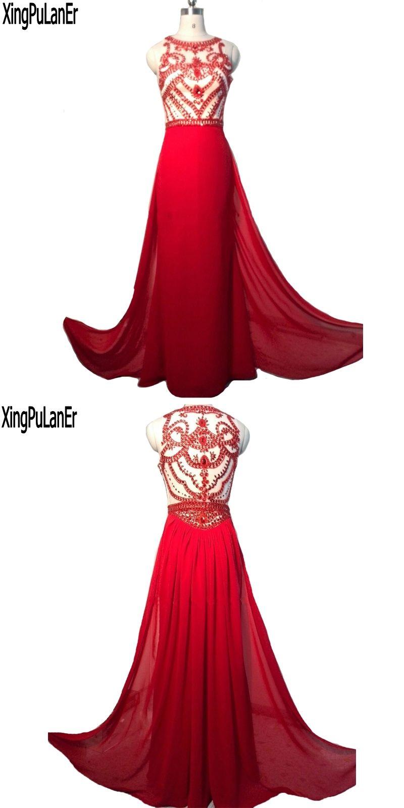 Robe de soiree mermaid sleeveless red beaded crystals top sexy see