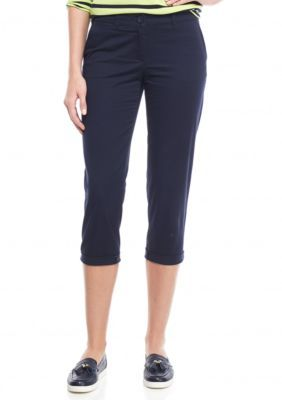 a2316fd338f11 Crown Ivy Novel Navy Petite Size Solid Casual Crop Pants