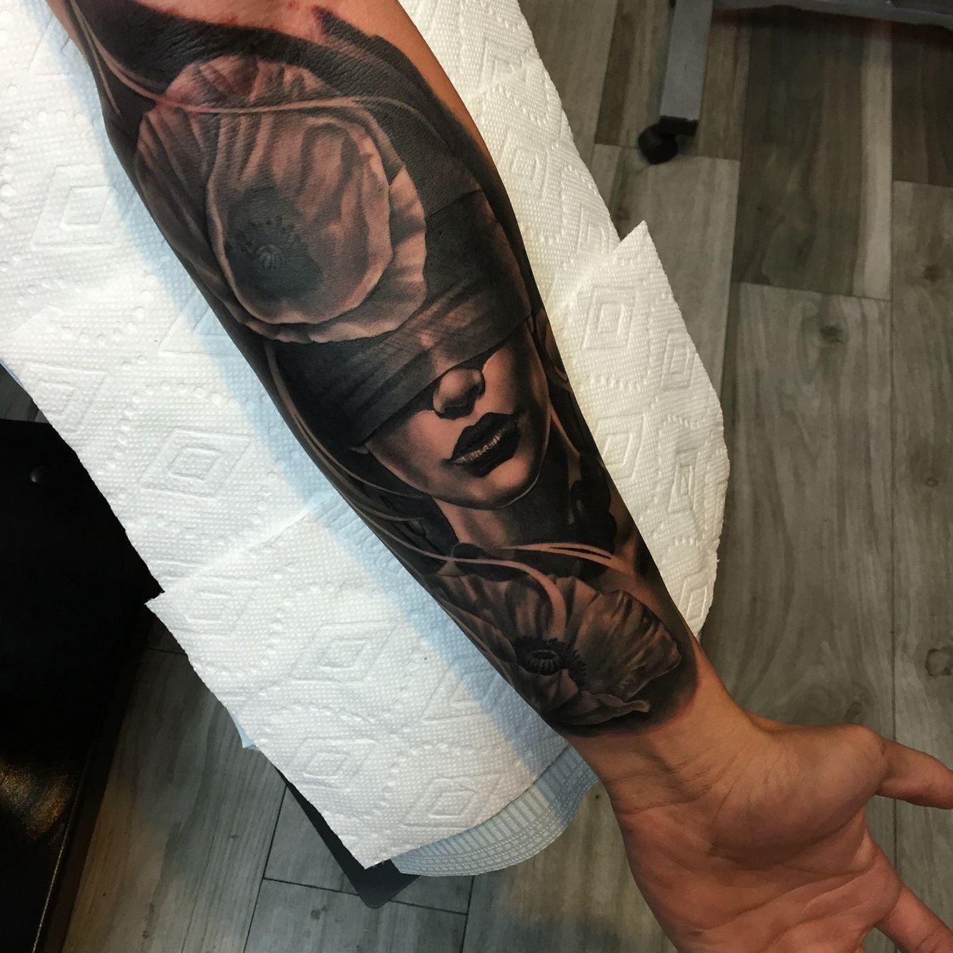 Blindfolded woman tattoo lady justice half sleeve | Sleeve ...