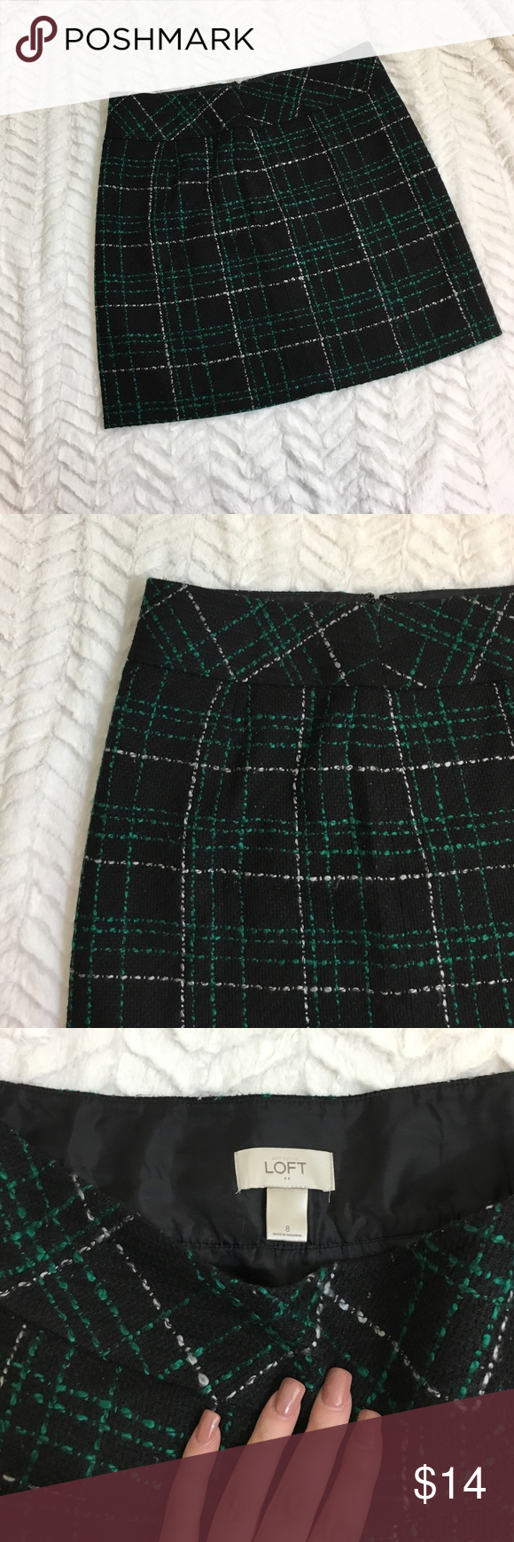 loft green skirt. loft green and white pencil skirt super cute size 8. black plaid