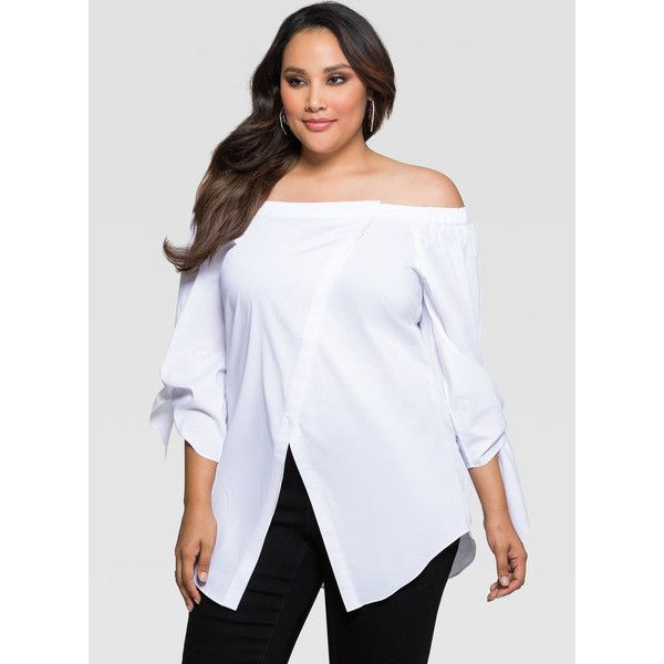 4e6db167236 Ashley Stewart Off-Shoulder Crossover Front Shirt ( 40) ❤ liked on Polyvore  featuring tops