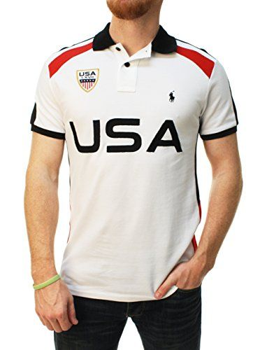 USA appliques on back. Contrast color shoulders and back panel. Vents at hem; back is longer than front. Classic polo shirt construction. Fabric & Care: % Cotton. Machine Wash. Imported.