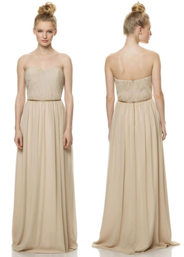bfbe62ba98 Simple nude colour Bari Jay Bridesmaid Dress    www.modernwedding.com.au  bari-jay-bridesmaid-dresses