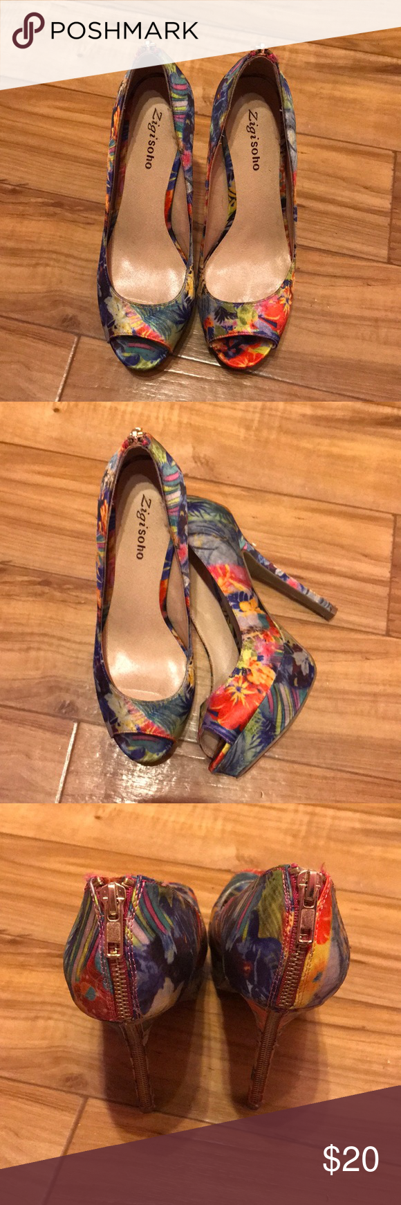 Floral heels Floral heels , worn once. No original tags but in perfect condition no scratches or scuffs! Zigi Soho Shoes Heels