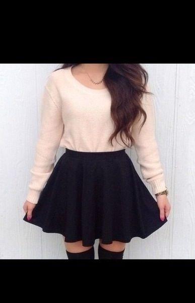 b232d05d5 tumblr outfits fashion. tumblr outfits fashion Black Skater Skirt ...