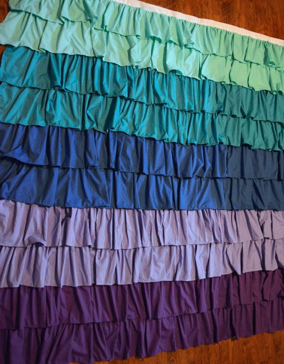 Custom Color Ruffle Shower Curtain Via Etsy