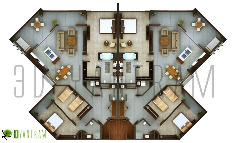 3D hotel Floor Plan design modeling studio AMSTERDAM Europe