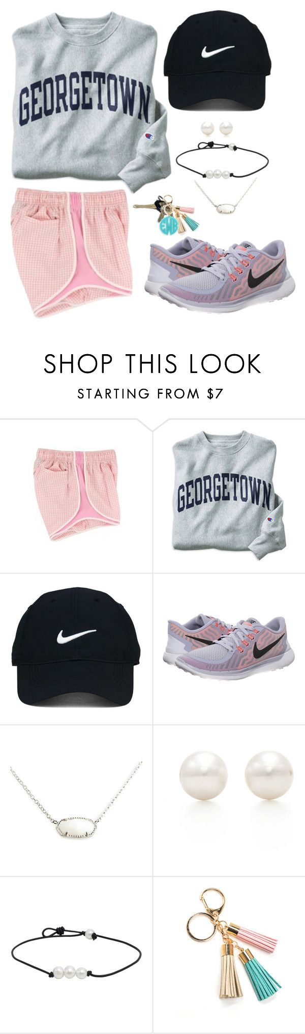 """""""georgetown//gingham//grey"""" by molliekatemcc ❤ liked on Polyvore featuring Champion, Nike Golf, NIKE, Kendra Scott, Tiffany & Co., Avon, Moon and Lola and mksfavs"""
