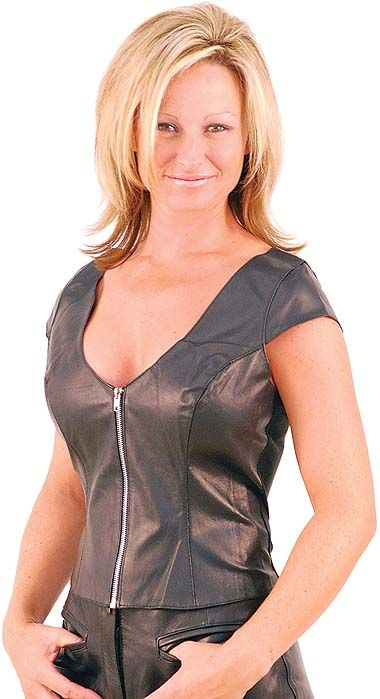 8bc56e4dc4e NEW Plus Sizes  59.99 This ladies leather shirt has cap sleeves