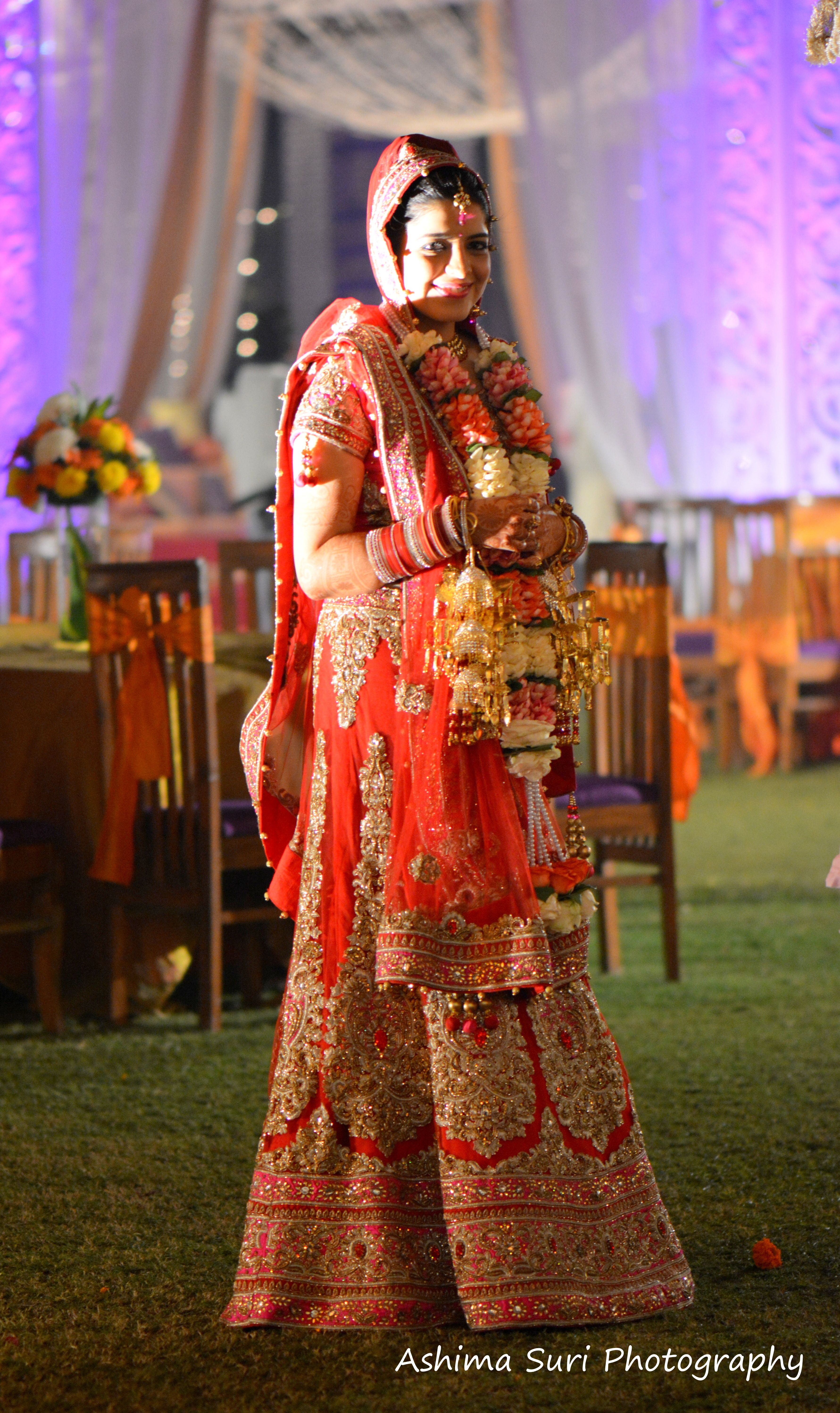 Super pretty pink and red wedding lehnga!