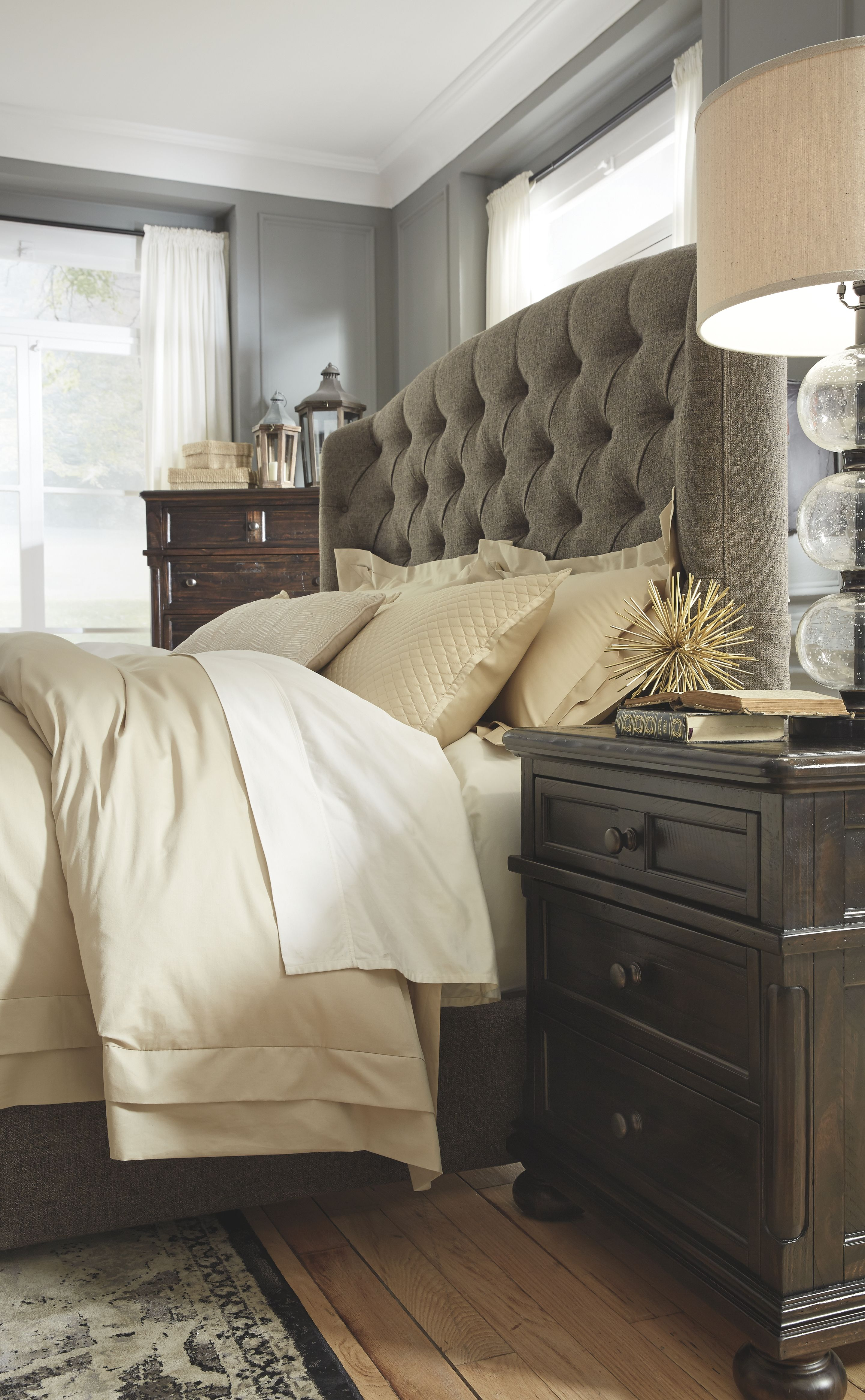 Best Gerlane California King Upholstered Bed Graphite 400 x 300