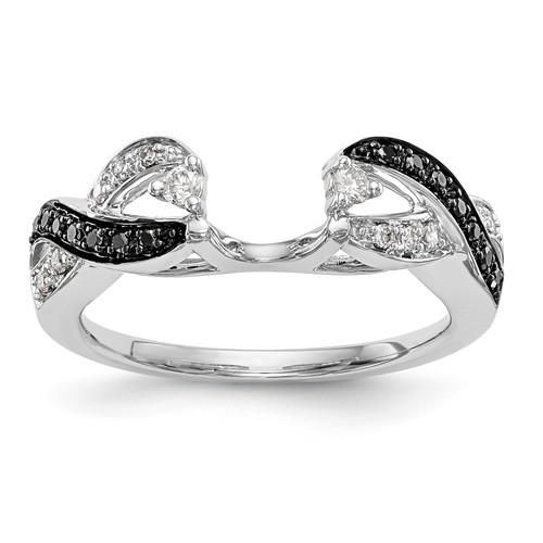 14k White Gold Black Diamond Ring Wrap Enhancer