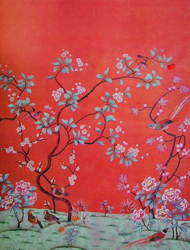 Chinoise Chinoiserie wallpaper, Hand painted wallpaper