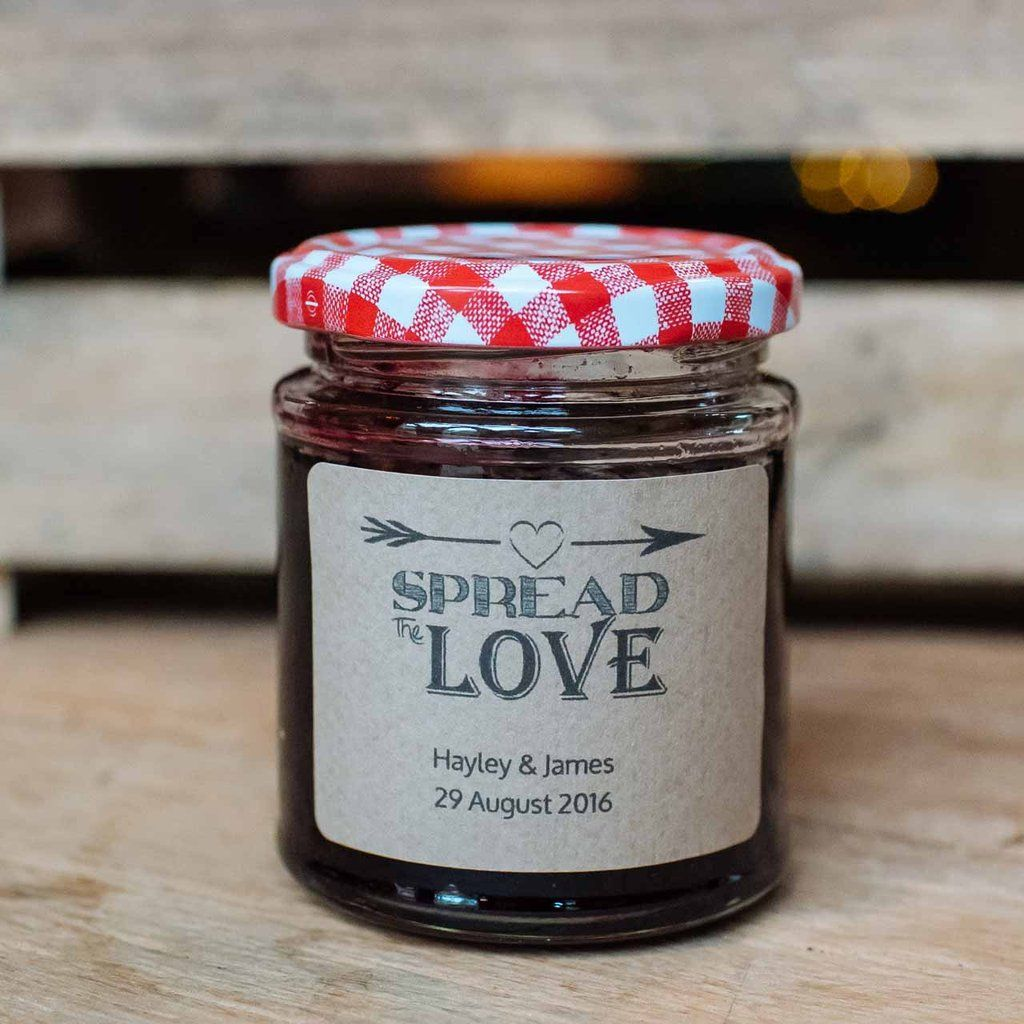 spread the love wedding jam labels personalised