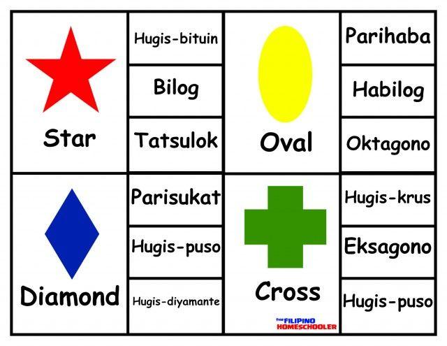 Alpabetong Filipino Worksheet For Grade 1 : Shapes in filipino clip cards « the homeschooler ava