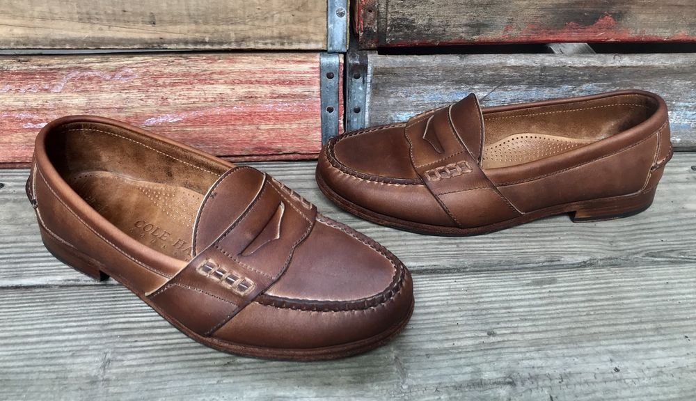 3a408ef2a55 COLE HAAN Country Handsewn Brown Leather Penny Loafers Shoes Men s 10D   ColeHaan  LoafersSlipOns
