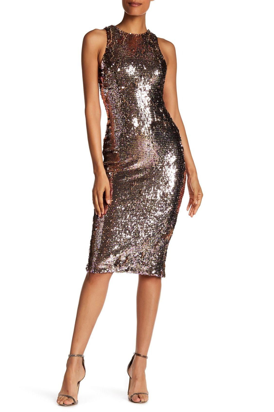 27afe7742e7b Dress the Population | Shawn Sequined Midi Dress | Glitter | Dresses ...