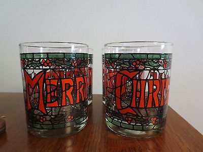 4 Vintage #houze #merry Christmas Stained Glass Barware #manhattan Glasses,  View More