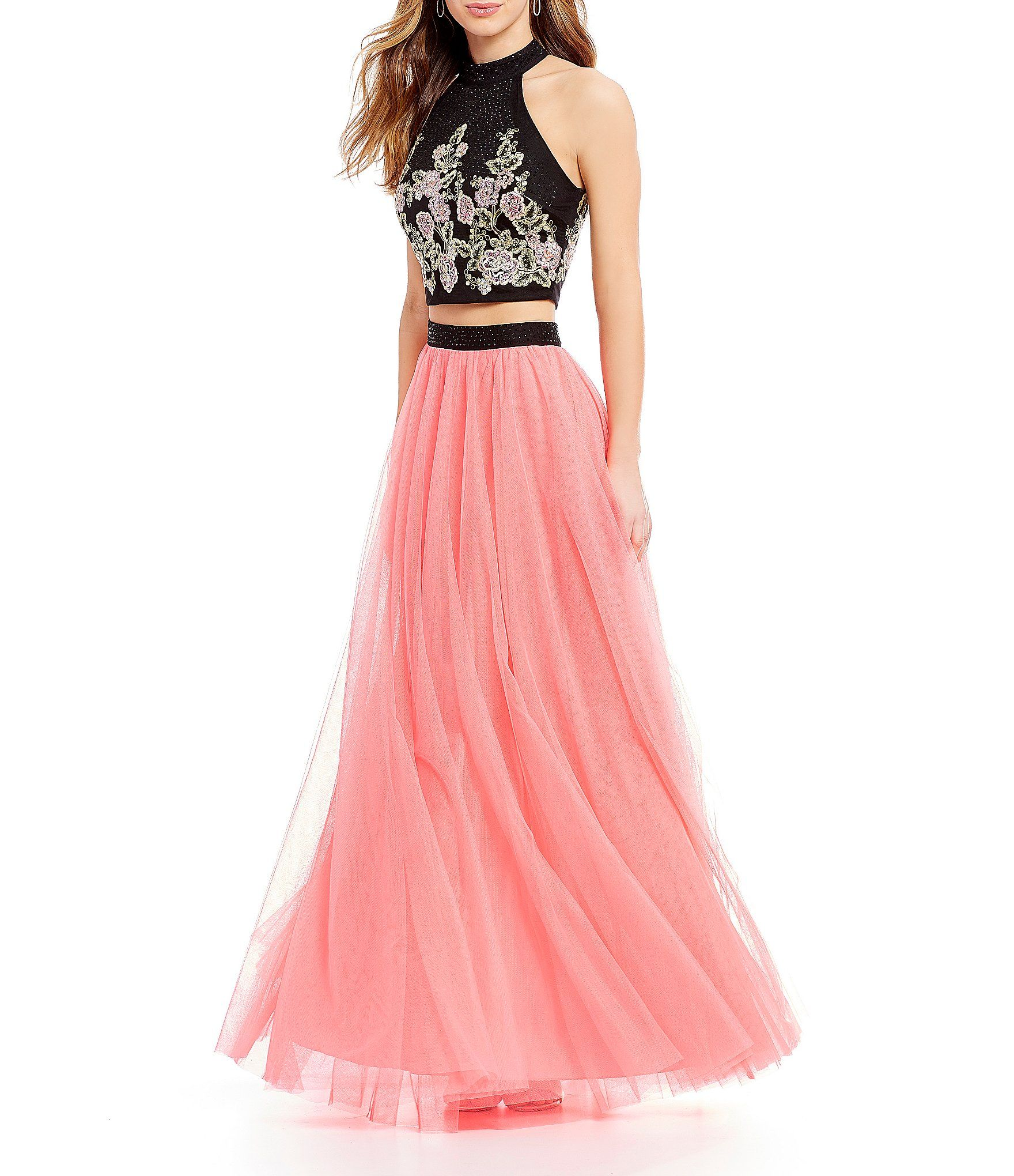 Jodi Kristopher Mock Neck Embroidered Two-Piece Ball Gown   Dillards ...