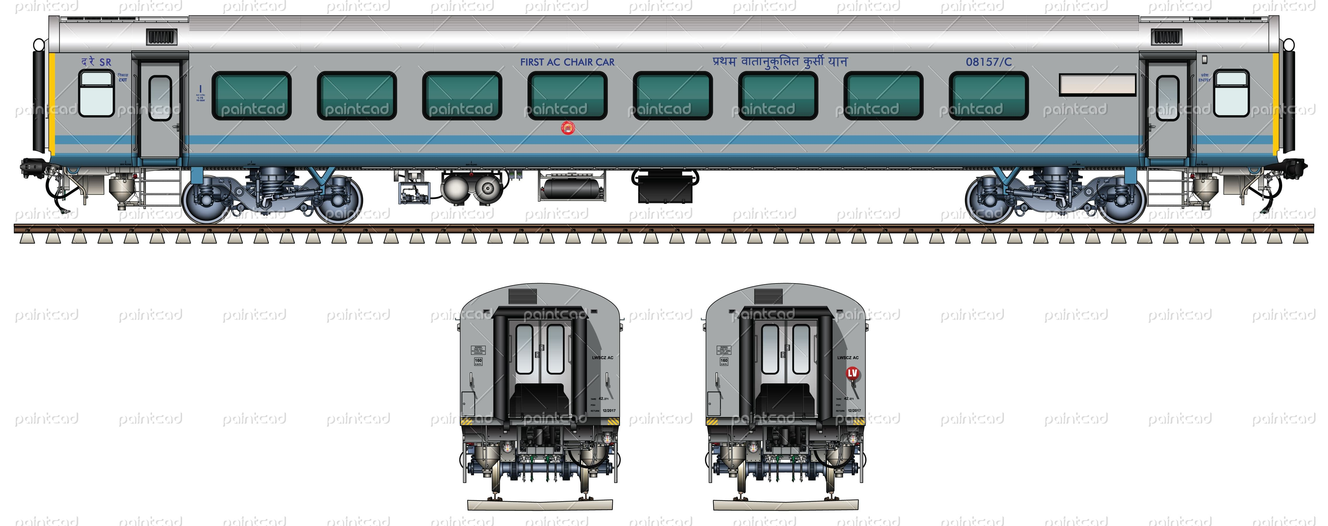 Indian LHB AC THREE TIER coach in livery of Humsafar Express ...