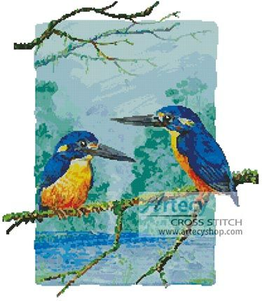 Two Azure Kingfishers Cross Stitch Pattern http://www.artecyshop.com/index.php?main_page=product_info&cPath=74_77&products_id=351