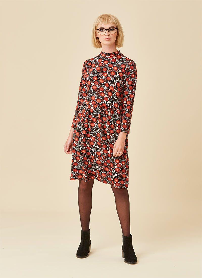 Adele High Neck Floral Print Dress Dresses Floral Prints