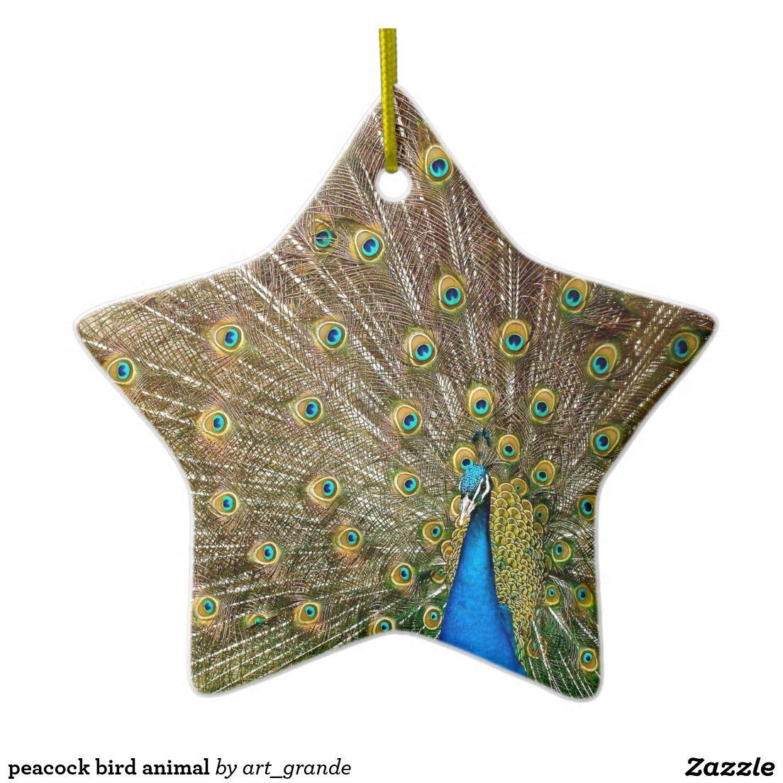 peacock bird animal ceramic ornament