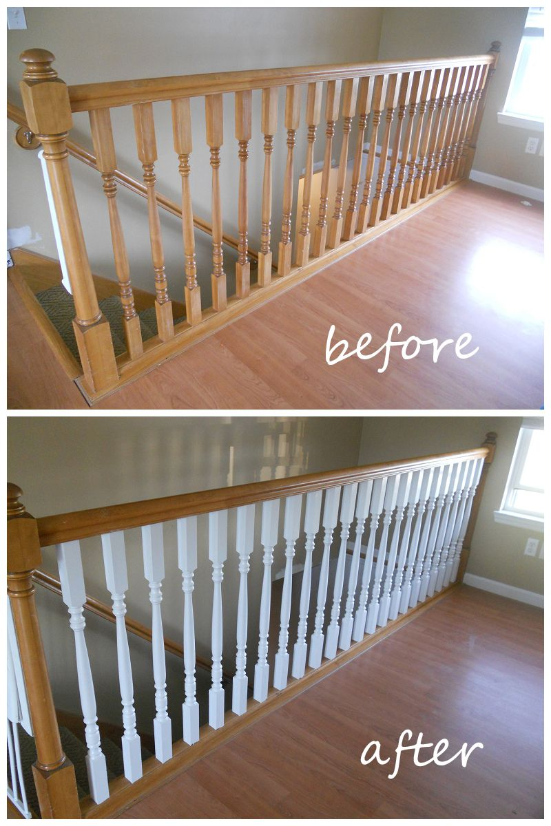 This Wonderful Combination Of White Painted Spindles With An Oak Bannister Is Perfect For A Modern Stairca In 2020 Staircase Design Modern Staircase Painted Staircases