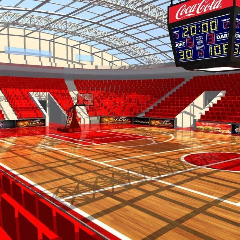 Basketball Arena 3d Model Stadium Architecture Indoor Basketball Court Basketball