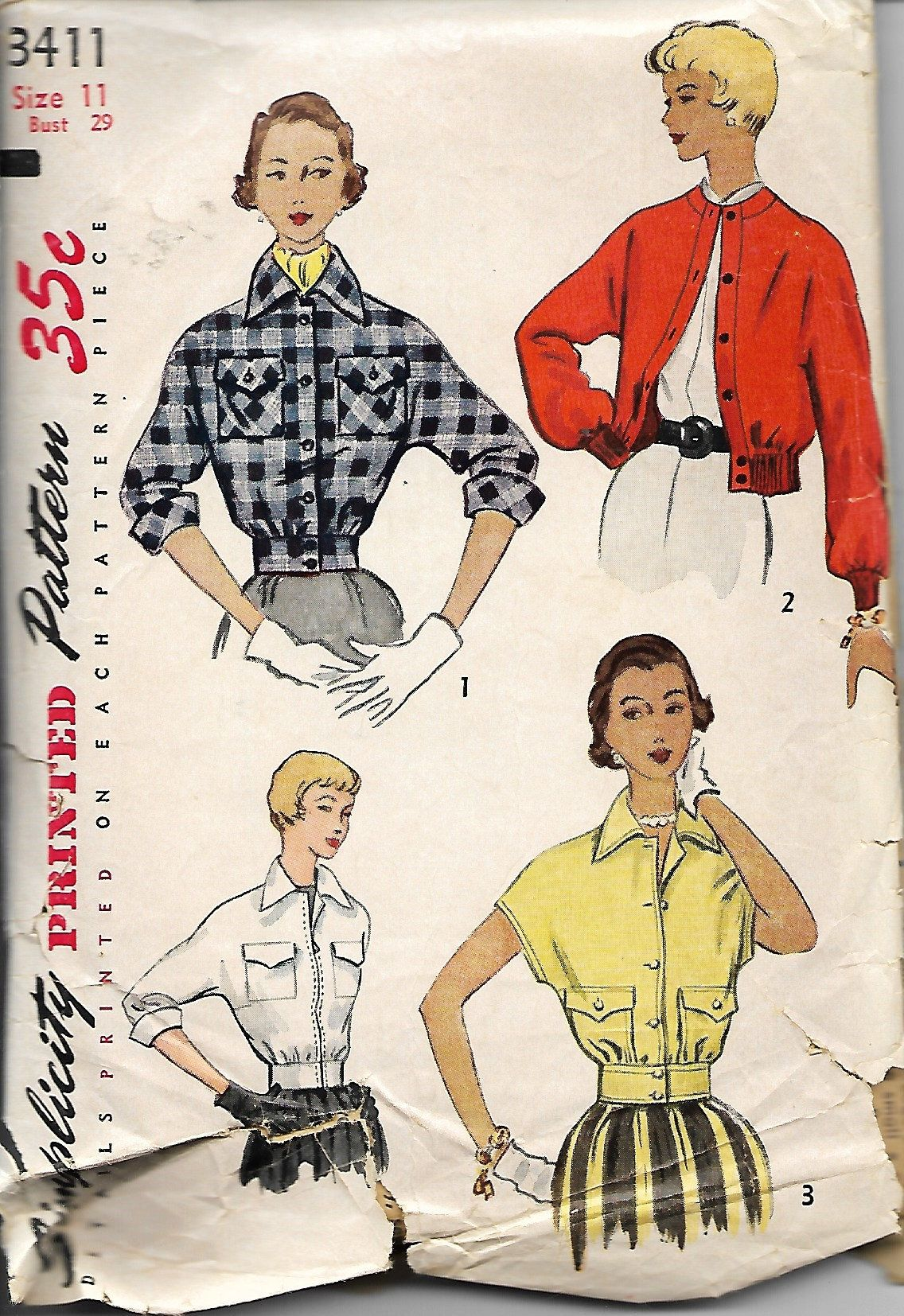 1950 Simplicity 3411 Junior Misses And Misses Jacket Sewing Pattern Bomber Jacket Size 11 Bust 29 Jacket Pattern Sewing Sewing Patterns Fabric Inspiration [ 1654 x 1136 Pixel ]