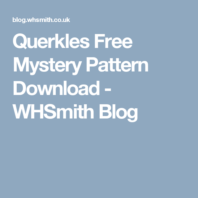 Querkles Free Mystery Pattern Download Whsmith Blog Coloring